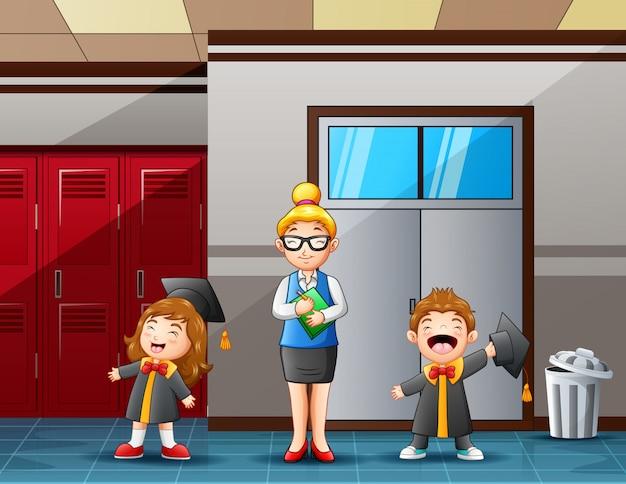 Cartoon nauczyciel kobieta i słodkie studenci ukończenia szkoły