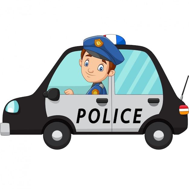 Cartoon oficer policji kierowca samochodu