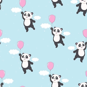 Cartoon panda jednolity wzór ananasa wzór