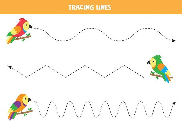 Cartoon papugi śledzenie linii. praktyka pisma ręcznego z ptakami.