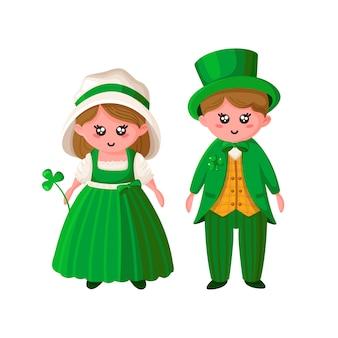 Cartoon para saint patricks day - chłopiec i dziewczynka w zielonych strojach retro,