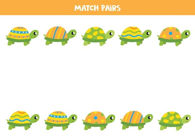 Cartoon pasująca gra żółwia. znajdź parę dla każdego żółwia. arkusz edukacyjny dla dzieci.