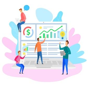 Cartoon people team analysys financial strategy