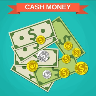 Cartoon pieniądze w gotówce, zielone dolary i monety