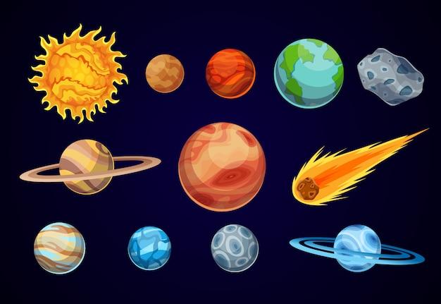Cartoon planet układu słonecznego. obserwatorium astronomiczne mała planeta. przestrzeń galaktyki astronomicznej. słońce merkury wenus ziemia mars jowisz saturn uran neptuna kometa asteroida