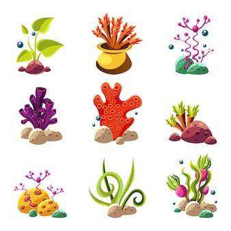 Cartoon podwodne rośliny i stworzenia