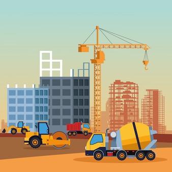Cartoon pojazdów budowlanych