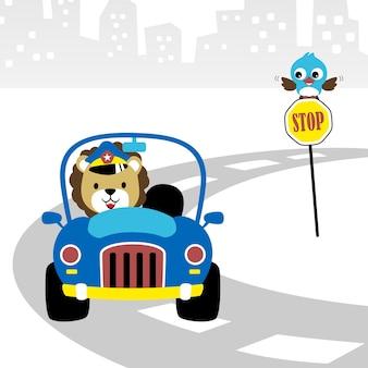 Cartoon policjant ruchu drogowego