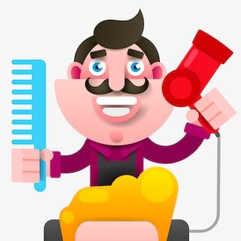 Cartoon pomyślne fryzjer w fartuch z nożyczkami w ręku