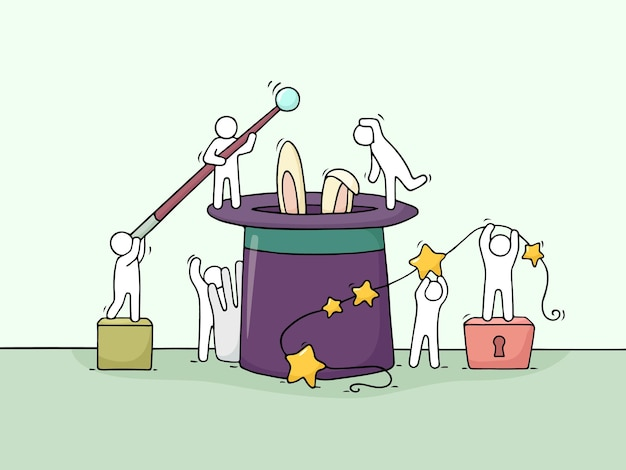 Cartoon pracujących małych ludzi z ilustracją magicznych symboli