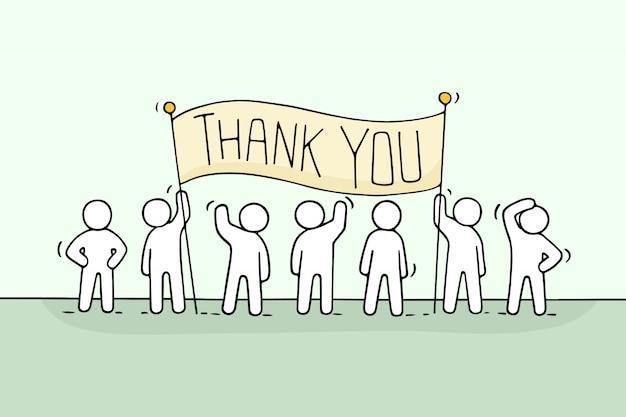 Cartoon pracy małych ludzi z frazą dziękuję.