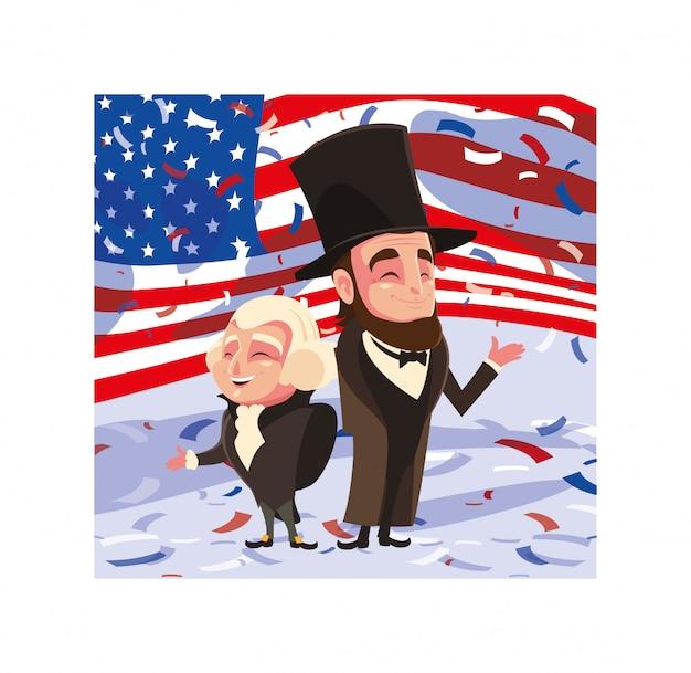 Cartoon prezydentów george washington i abraham lincoln, dzień prezydenta