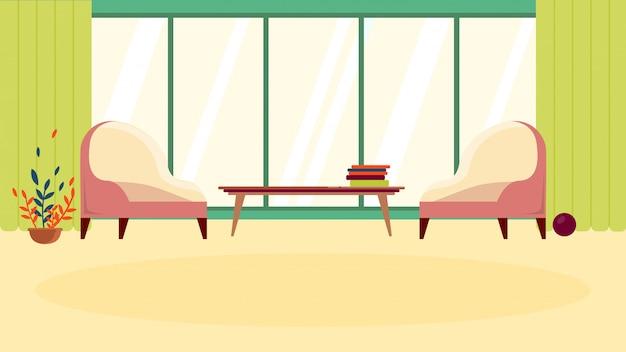 Cartoon przytulna poczekalnia lub comfort rest zone z meblami i szerokim oknem