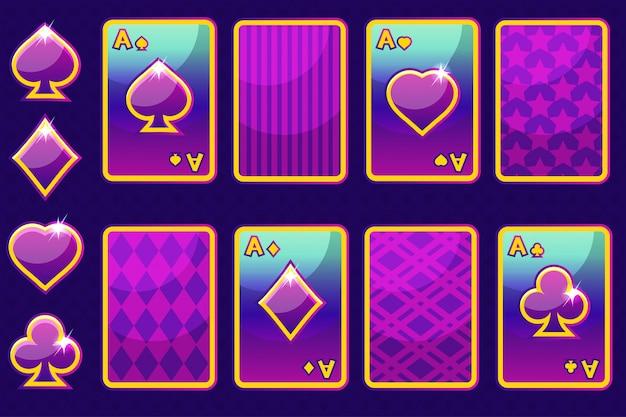 Cartoon purpurowe cztery karty do gry w pokera i odwrocie karty. elementy gui i ikony.