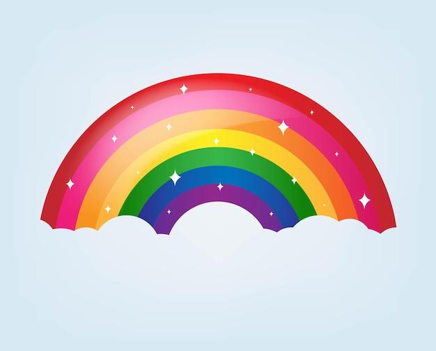 Cartoon rainbow z gwiazdami i niebieskim tłem