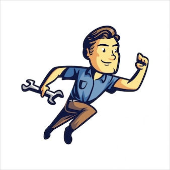Cartoon repair man lub quick fix