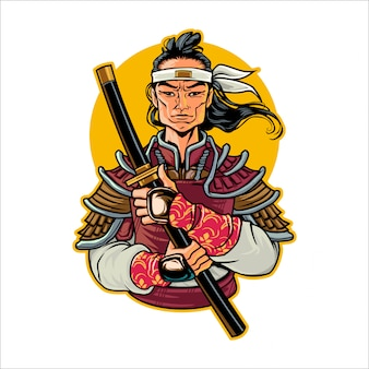 Cartoon rise samurai