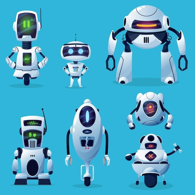 Cartoon robot cyborg, zabawki lub boty, technologia sztucznej inteligencji.