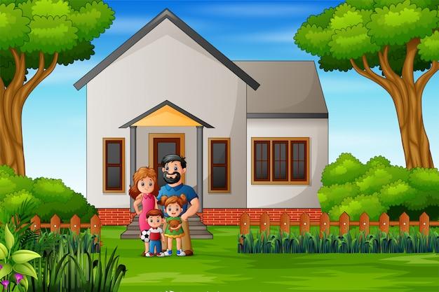 Cartoon rodziny przed domowym dziedzińcem