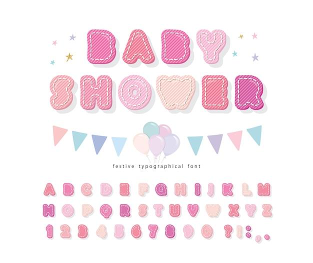 Cartoon różowa czcionka baby shower