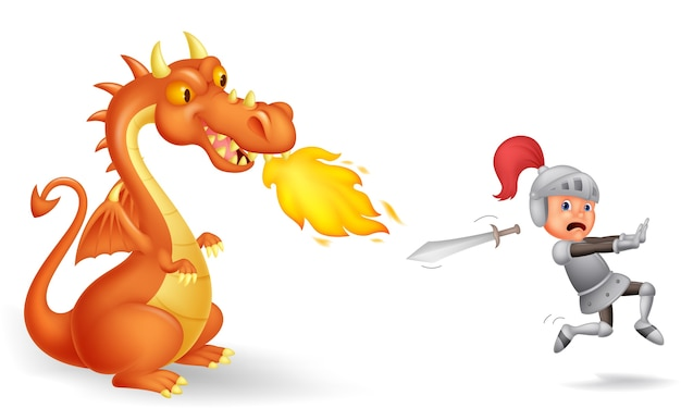 Cartoon rycerza działającego od groźnego smoka