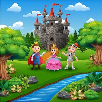 Cartoon rycerza z księżniczka i para księcia na stronie zamku