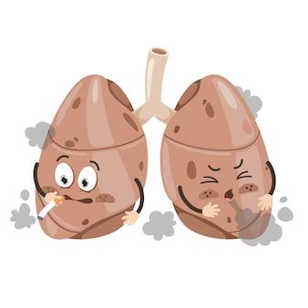 Cartoon rysunek ludzkich płuc