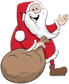 Cartoon santa claus christmas character z workiem prezentów