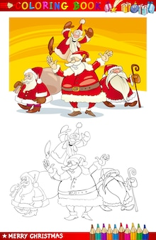 Cartoon santa claus grupa do kolorowania