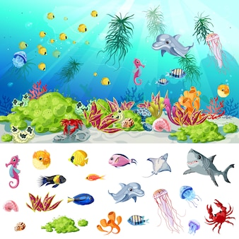 Cartoon sea i ocean life concept