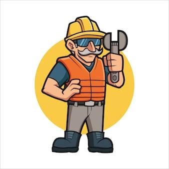 Cartoon seniors builder contruction