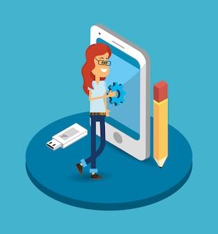 Cartoon Silnika Wyszukiwania Premium Wektorów