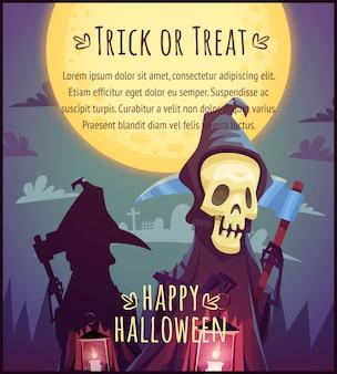 Cartoon śmierć z kosą i świecącą lampą na tle nieba w pełni księżyca szczęśliwy plakat halloween cukierek albo psikus ilustracja karty okolicznościowej