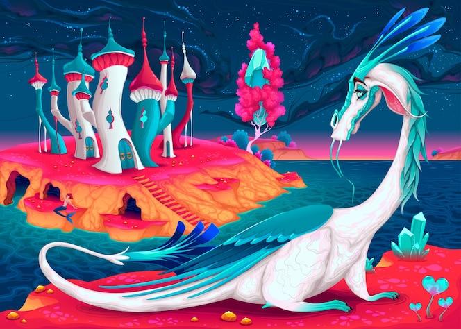 Cartoon smoka w świecie fantasy ilustracji wektorowych