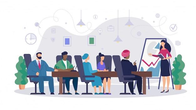 Cartoon spotkanie informacyjne akcjonariuszy plakat.