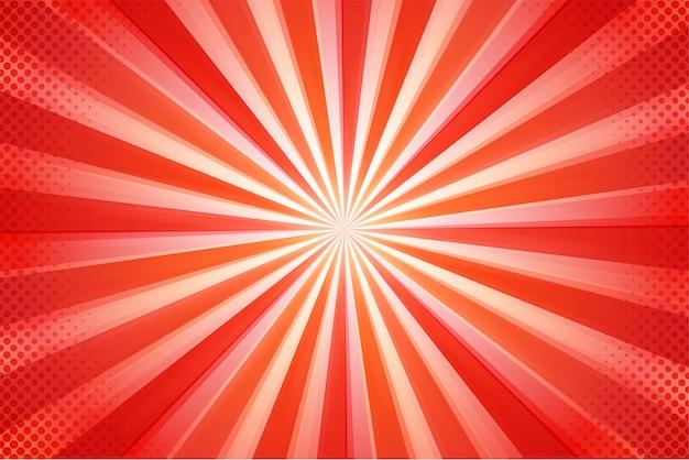 Cartoon streszczenie piękne czerwone promienie słoneczne.
