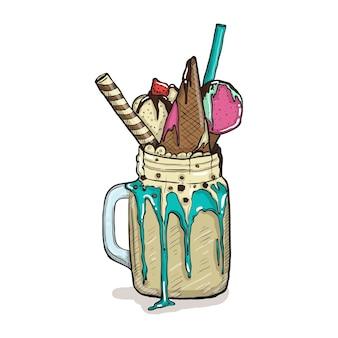 Cartoon style milkshake z goframi, truskawkami i lodami. ręcznie rysowane kreatywny deser na białym tle.