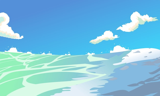 Cartoon style sea