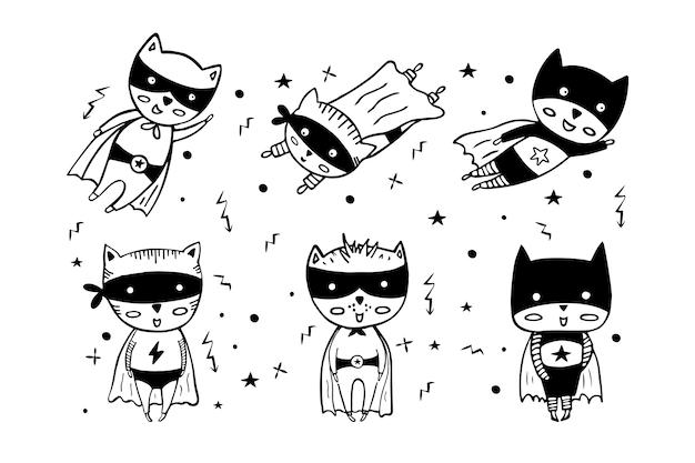 Cartoon superbohaterów w czarnych kostiumach.