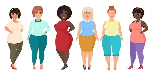Cartoon szczęśliwa i uśmiechnięta plus size kobiety kobiety. kręcona, z nadwagą dziewczyna w swobodnym stroju.