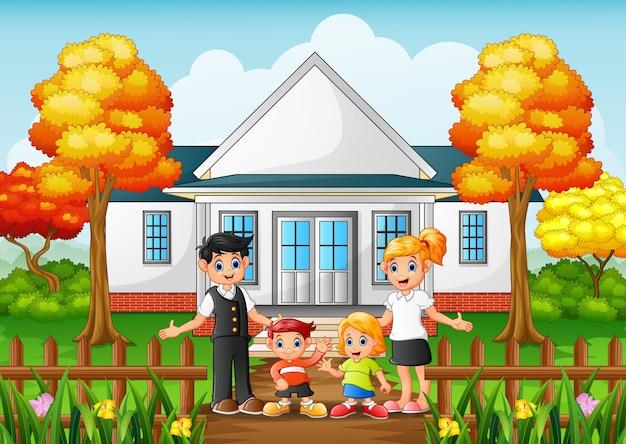 Cartoon szczęśliwą rodzinę na podwórku domu
