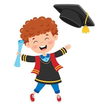 Cartoon szczęśliwe dziecko w stroju dyplomowym