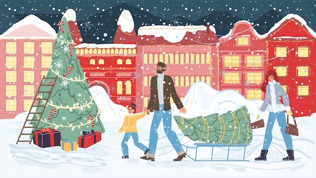 Cartoon szczęśliwe postacie rodzinne nosić choinkę - wesołych świąt, szczęśliwego nowego roku