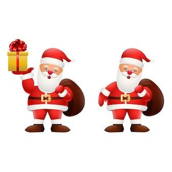Cartoon szczęśliwy santa claus trzyma prezenty
