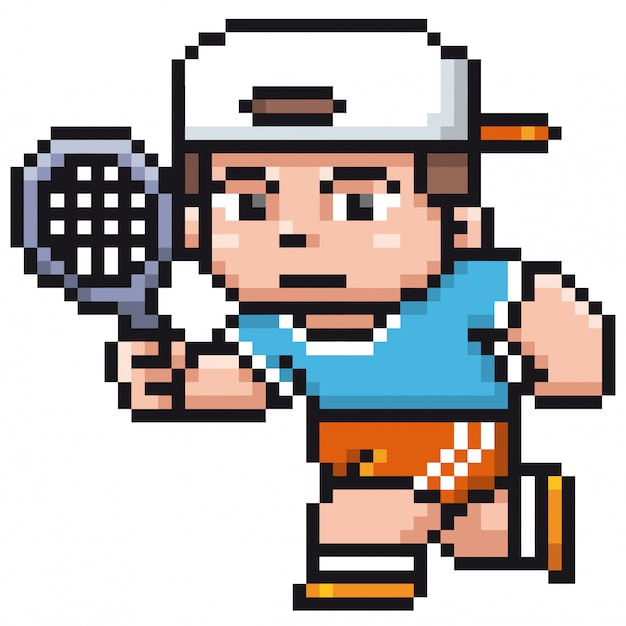 Cartoon tennis player - pixel design
