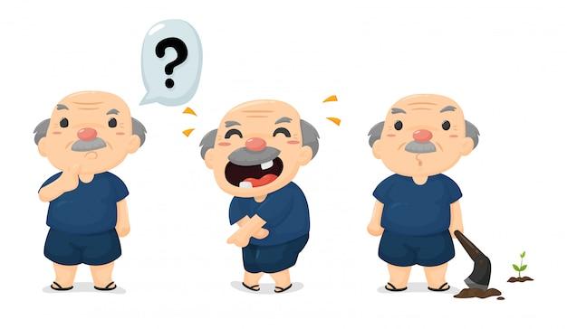 Cartoon thai rolników w różnych emocjach, szczęśliwy i zaskoczony.