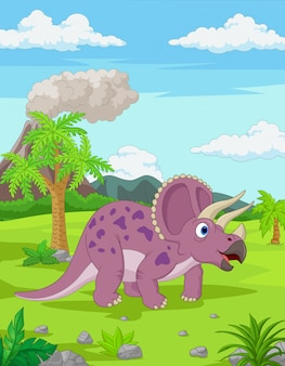 Cartoon triceratops w dżungli
