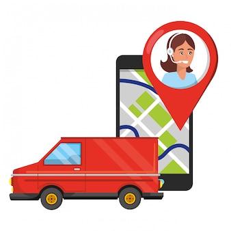 Cartoon usługi logistyczne obsługi klienta