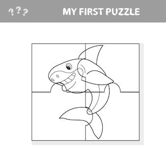 Cartoon vector illustration of education jigsaw puzzle game for preschool children with funny shark fish animal - moja pierwsza układanka i kolorowanka