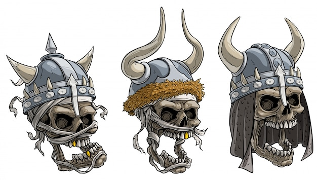 Cartoon viking warrior skulls in metal helmet